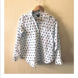 🎁 Ann  Taylor Polka Dot Long Sleeve  Blouse 🎁